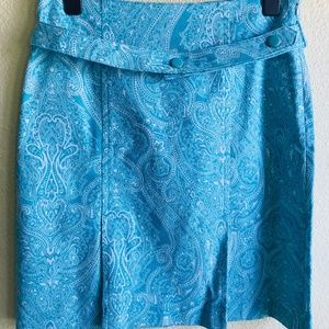 Talbots Petite Graphic Print A Line Pleated Skirt